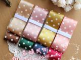 (1米价)38mm 3.8cm丝带印圆点缎带 DIY韩国发饰蝴蝶