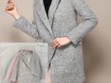 2014冬季新款韩版夹棉修身中长款呢子羊绒大衣女西装领长袖外套