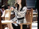 新款韩版SZ黑白条纹气质长袖衬衣 女式衬衫 高档白领时尚款爆款