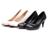 2014春夏秋职业大牌外贸精品真皮中跟纯色细跟女鞋批发女单鞋