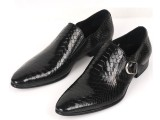 外贸原单真皮蛇纹皮正装男鞋 时尚套脚款商务男士皮鞋 黑色37码