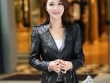 2014秋冬新款 韩版女士PU皮衣 修身蕾丝短款小外套机车皮夹克