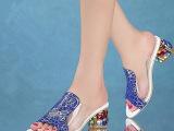直销夏季较新款真皮凉鞋女高跟 奢华彩钻跟印花休闲女鞋一件代发