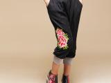 绣花休闲裤 大码 民族风女装糖果色七分灯笼瑜伽女裤 运动裤
