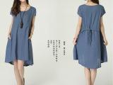2014夏季新款 原创棉麻女装韩版大码宽松文艺范亚麻连衣裙880