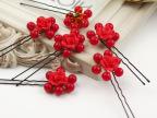 义乌新娘红色饰品手工头饰 韩式发饰 古装软陶 珍珠发簪 造型发夹