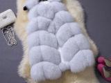 进口芬兰狐狸毛中长款马甲背心皮草女外套菱形横条纹拼接韩版显瘦