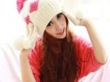 韩版冬季风雪护耳方格图案毛球毛线帽子李小璐同款冬帽批发时尚帽