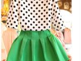 2014韩国代购欧洲站复古波点泡泡袖上衣高腰蓬蓬连衣裙2件套装