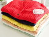 复古气质甜美蕾丝蝴蝶结胸章针织开衫小清新森女麻花纹毛衣外套