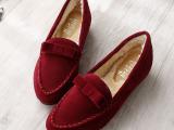 冬季豆豆鞋加绒女平底隐形内增高磨砂皮平跟懒人鞋单鞋休闲保暖