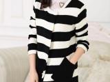 秋装新款 女 韩版清新撞色彩色条纹毛衣外套 大码中长款格子开衫