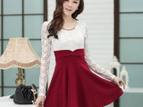 2014春装新款韩版女装蕾丝针织拼接订珠圆领长袖修身打底连衣裙潮