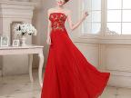 新娘婚纱新款结婚敬酒服演出主持人晚装显瘦花朵抹胸长礼服 LF188