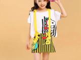 童装2014新款欧美中大儿童宝宝卡通两件套连衣裙公主裙背带背心裙