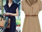 2015春夏女装新款欧美短袖衬衫裙大码雪纺连衣裙送腰带外贸热卖