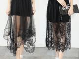 2015夏季新款半身裙 不规则镂空蕾丝透视中长裙 网纱直筒包臀短