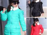 女童秋冬款 儿童棉服新品肩立体花朵棉衣 冬季棉衣加厚保暖外套
