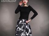 时尚欧美风印花半身裙加一字领长袖针织衫女式套装女款裙套装批发
