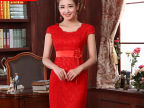 2014批发新娘旗袍 旗袍敬酒服新娘唐装结婚红色蕾丝冬季新娘旗袍