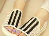 推荐2014夏款欧洲站复古明星淑女甜美风蕾丝低跟鱼嘴鞋单鞋子女鞋