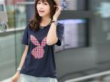 2014春夏装新款女装正品T226#格子兔宽松短袖t恤女纯棉韩版