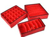 高品质红色爱心无盖内衣收纳盒三件套(6格+7格+24格)