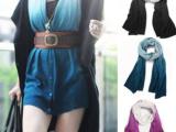 秋冬新款韩版仿羊绒百变围巾魔术开衫渐变色韩国多用披肩 0.16k