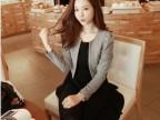 秋装新款韩版拼色修身显瘦假两件套连衣裙女
