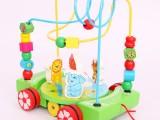 木制拖车绕珠拖拉串珠0-1-2岁宝宝玩具早教益智学步玩具 2款可