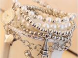 欧美韩版手链厂家直销时尚热销多层热销珍珠