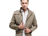 新款加厚棉衣外套 男士加棉风衣 单排扣上衣 男休闲夹克冬装