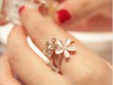小清新猫眼石花朵食指戒指 韩版 潮人 女 饰品首饰 礼物