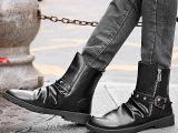 黑色男士尖头皮靴短靴潮流马丁靴铆钉英伦发