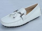 英伦潮男豆豆鞋真皮白色皮鞋 平底舒适圆头漆皮驾车鞋韩版皮鞋夏