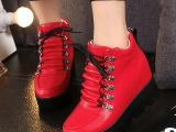 2015欧美内增高系带女鞋高帮厚底松糕休闲鞋大码女单鞋外贸鞋批发