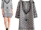 女装批发 2014新款欧美风时尚流行大牌复古印花民族风中袖连衣裙
