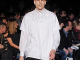 一件代发纪家男士修身纯手工镶钻石领铆钉长袖衬衫白色衬衣男S127