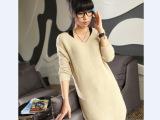 欧美原单秋冬新款2014女装V领长款蝙蝠袖套头毛衣针织衫宽松外套