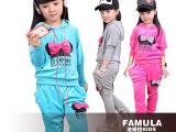 一件代发童装 织里韩版天鹅绒米奇女童套装 蝙蝠袖中童套装