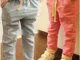 启涵 女童休闲裤 2014春装新款童装 儿童韩版糖果色白搭长裤子