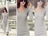 韩国代购同款性感修身微V领连衣裙性感包臀紧身针织打底长裙