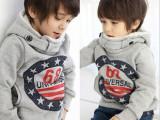 新款韩版童装 男童68字母印花 帅气加羊羔绒厚款连帽 卫衣