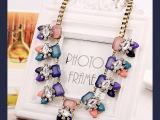 欧美时尚短款锁骨链高端夸张几何方形镶钻合金项链 尤珑饰品