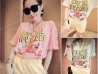 t恤 女夏装 韩国t恤 购物狂女人字母冰淇淋色外贸原单短袖t恤女