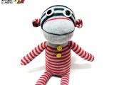 条纹猴子【响鱼】袜子娃娃手工diy创意玩
