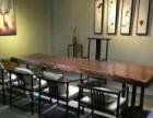 现代简约原木实木家具黑檀大板办公桌椅书桌茶几