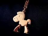 韩国进口小木马项链童年 玫瑰金锁骨链女款情人节礼品