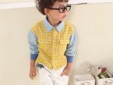 童装批发 2015春装新款 韩版中小童纯棉衬衫 男童装时尚格子衬