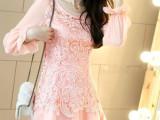 2014春装新款韩版蕾丝镂空碎花连衣裙长袖修身时尚气质裙